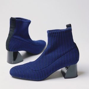 ZARA TRAFALUC Striped Knit Sock Bootie Blue Black